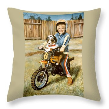 A Ride In The Backyard Throw Pillow by Donna Tucker
