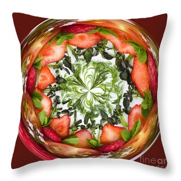 A Round Of Fresh Fruit Salad Throw Pillow by Anne Gilbert