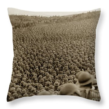 A Sea Of Helmets World War One 1918 Throw Pillow by California Views Mr Pat Hathaway Archives