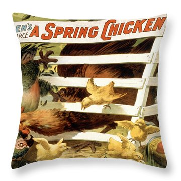 A Spring Chicken Throw Pillow by Aged Pixel