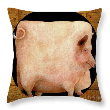 A Square Pig In A Round Hole... Throw Pillow by Will Bullas