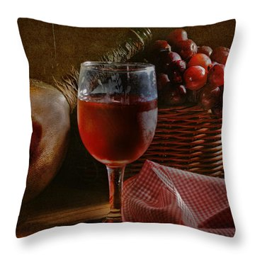 A Taste Of The Grape Throw Pillow by David and Carol Kelly
