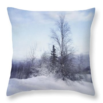 A Tree In The Cold Throw Pillow by Priska Wettstein