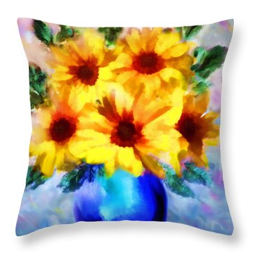 A Vase Of Sunflowers Throw Pillow by Valerie Anne Kelly