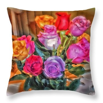 A Vivid Rose Bouquet For You Throw Pillow by Thomas Woolworth