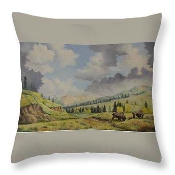 A Warm Day At Yellowstone Nat. Park Throw Pillow by Wanda Dansereau
