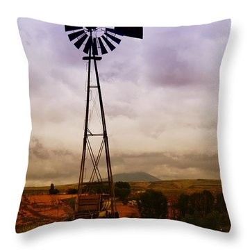 A Windmill And Wagon  Throw Pillow by Jeff Swan