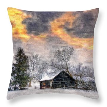 A Winter Sky Paint Version Throw Pillow by Steve Harrington