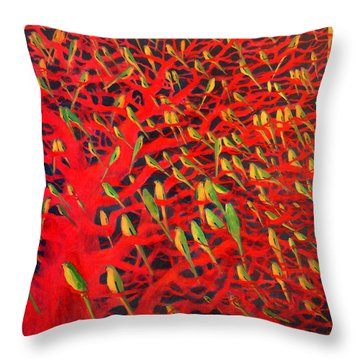 About 180 Orange Bellied Parrots  Throw Pillow by Charlie Baird