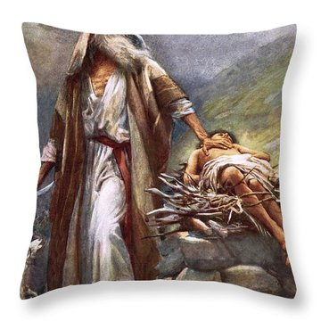Abraham And Isaac Throw Pillow by Harold Copping