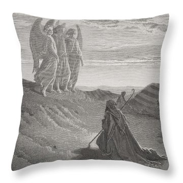 Abraham And The Three Angels Throw Pillow by Gustave Dore