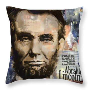 Abraham Lincoln Throw Pillow by Corporate Art Task Force