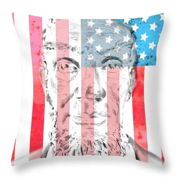 Abraham Lincoln Vintage American Flag Throw Pillow by Dan Sproul