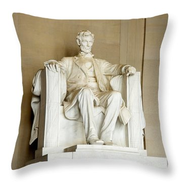 Abraham Lincolns Statue In A Memorial Throw Pillow by Panoramic Images