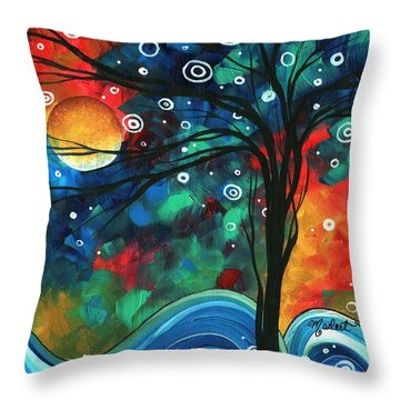 Abstract Art Original Landscape Colorful Painting First Snow Fall By Madart Throw Pillow by Megan Duncanson