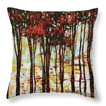 Abstract Art Original Landscape Painting Contemporary Design Forest Of Dreams I By Madart Throw Pillow by Megan Duncanson