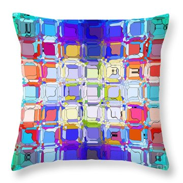 Abstract Color Blocks Throw Pillow by Anita Lewis
