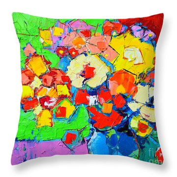 Abstract Colorful Flowers Throw Pillow by Ana Maria Edulescu