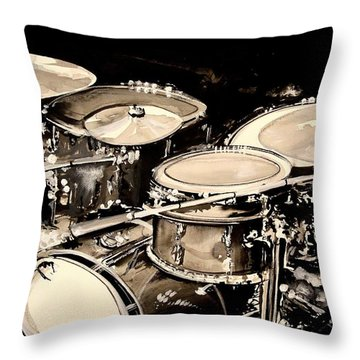 Abstract Drum Set Throw Pillow by J Vincent Scarpace