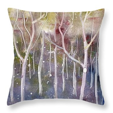 Abstract Forest Throw Pillow by Suzette Broad