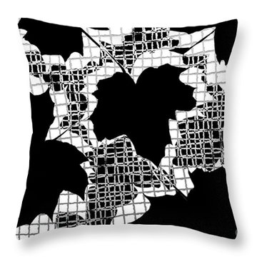 Abstract Leaf Pattern - Black White Grey Throw Pillow by Natalie Kinnear