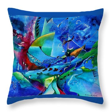 Abstract Mindscape No.5-improvisation Piano And Trumpet Throw Pillow by Wolfgang Schweizer
