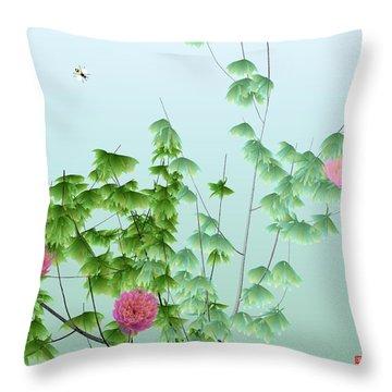 Abstract Peony Wasp Throw Pillow by GuoJun Pan