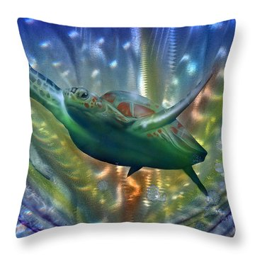 Abstract Sea Turtle 2 Throw Pillow by Luis  Navarro