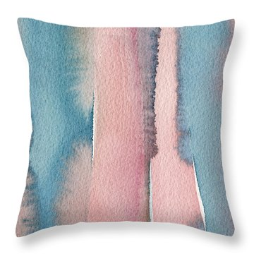 Abstract Watercolor Painting - Coral And Teal Blue Wide Stripes Throw Pillow by Beverly Brown