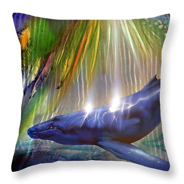 Abstract Whale Throw Pillow by Luis  Navarro