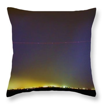 Ac Strike Over The City Lights Panorama Throw Pillow by James BO  Insogna