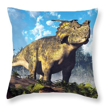 Achelousaurus Throw Pillow by Daniel Eskridge