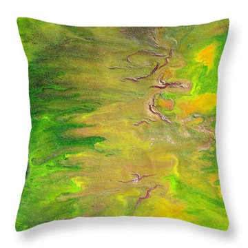 Acid Green Abstract Throw Pillow by Julia Apostolova