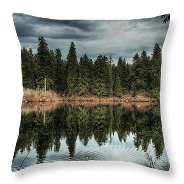 Across The Lake Throw Pillow by Belinda Greb