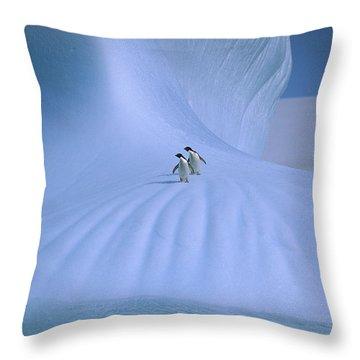 Adelie Penguins On Iceberg Antarctica Throw Pillow by Peter Sinden