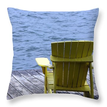 Adirondack Chair On Dock Throw Pillow by Olivier Le Queinec