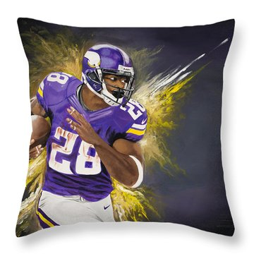 Adrian Peterson Throw Pillow by Don Medina