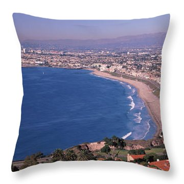 Aerial View Of A City At Coast, Santa Throw Pillow by Panoramic Images