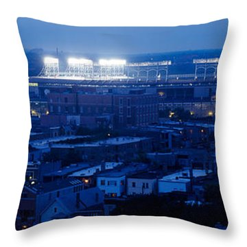 Aerial View Of A City, Wrigley Field Throw Pillow by Panoramic Images