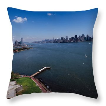 Aerial View Of A Statue, Statue Throw Pillow by Panoramic Images