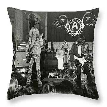 Aerosmith - Aerosmith Tour 1973 Throw Pillow by Epic Rights
