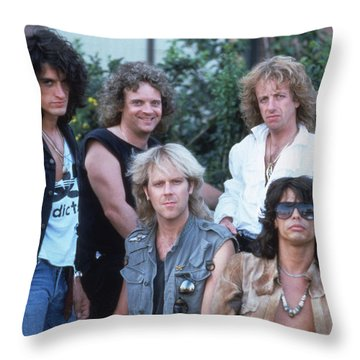 Aerosmith - Bad Boys From Boston 1970s Throw Pillow by Epic Rights