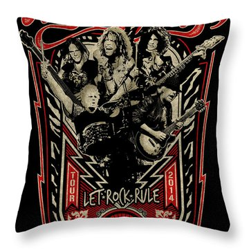 Aerosmith - Let Rock Rule World Tour Throw Pillow by Epic Rights
