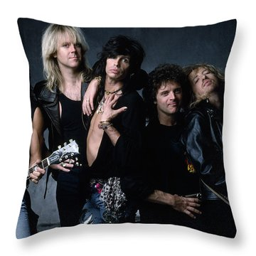 Aerosmith - Let The Music Do The Talking 1980s Throw Pillow by Epic Rights