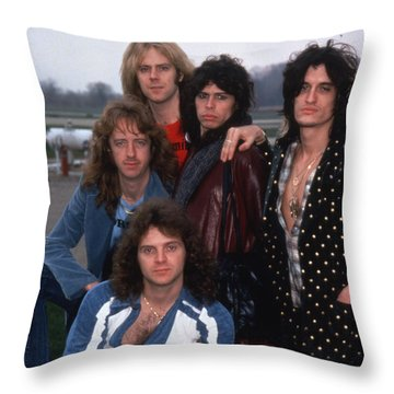 Aerosmith - Terre Haute 1977 Throw Pillow by Epic Rights