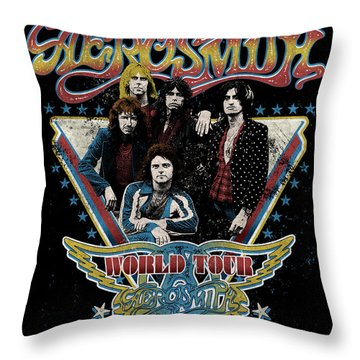 Aerosmith - World Tour 1977 Throw Pillow by Epic Rights