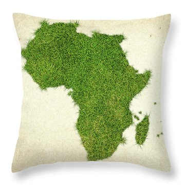 Africa Grass Map Throw Pillow by Aged Pixel