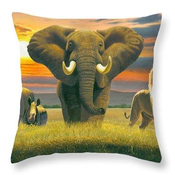 Africa Triptych Variant Throw Pillow by Chris Heitt