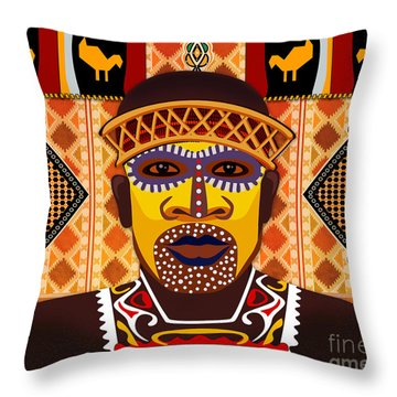 African Tribesman 2 Throw Pillow by Bedros Awak
