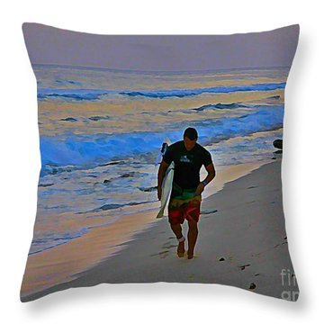 After A Long Day Of Surfing Throw Pillow by John Malone